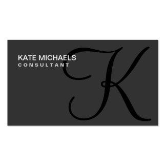 Negro moderno elegante profesional del monograma plantilla de tarjeta de negocio