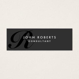 Negro moderno elegante profesional del monograma tarjetas de visita mini