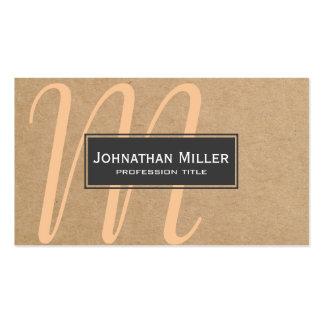 Negro moderno simple y blanco en el monograma de tarjetas de visita