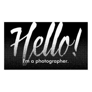Negro moderno y blanco del fotógrafo hola tarjetas de visita