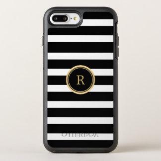Negro moderno y el blanco raya el monograma funda OtterBox symmetry para iPhone 7 plus