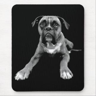 Negro Mousepad del perro de perrito del boxeador Tapetes De Ratón