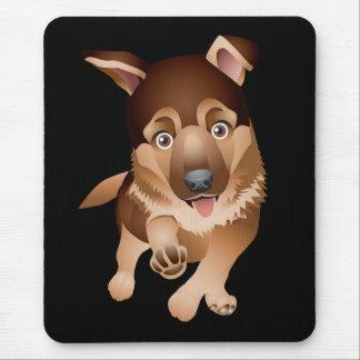 Negro Mousepad del perro de perrito del pastor Tapete De Ratón