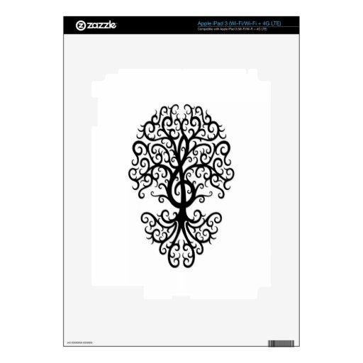 Negro musical del árbol del Clef agudo en blanco Pegatinas Skins Para iPad 3