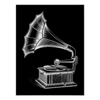 Negro musical del tocadiscos del fonógrafo del póster