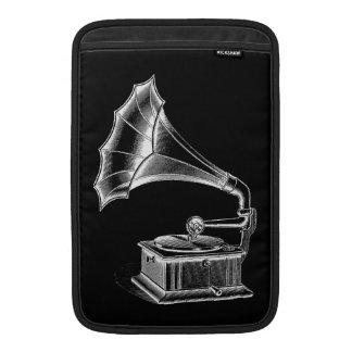 Negro musical del tocadiscos del fonógrafo del vin funda para macbook air
