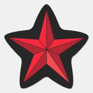 Negro náutico rojo de la estrella pegatina en forma de estrella