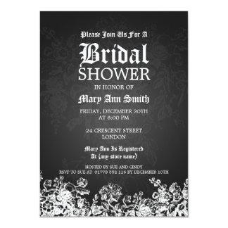 """Negro nupcial elegante del Flourish del Victorian Invitación 4.5"""" X 6.25"""""""