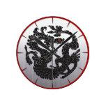Negro oriental del dragón relojes de pared