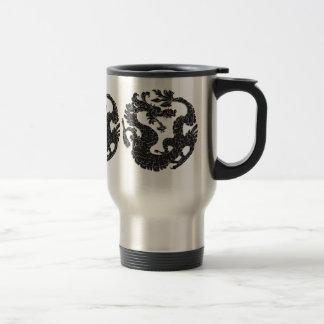 Negro oriental del dragón taza de viaje de acero inoxidable