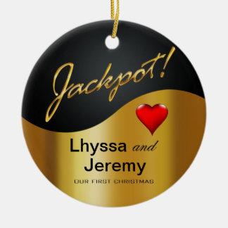 Negro oro de la foto del bote de Las Vegas Adornos De Navidad