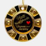 Negro/oro de la foto del microprocesador del adorno navideño redondo de cerámica