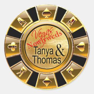 Negro/oro del microprocesador del casino de Tania Pegatina Redonda