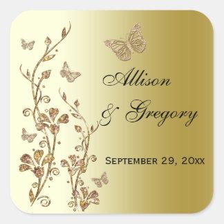 Negro, oro floral con el pegatina de las mariposas