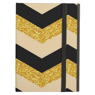 Negro, oro y caja blanca del aire del iPad de