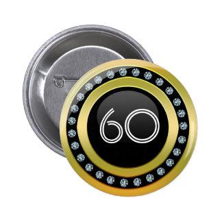 Negro, oro y diamantes del botón de la plantilla d pin redondo de 2 pulgadas
