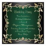 Negro/oro y invitación verde del cumpleaños del re