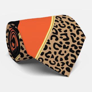 Negro, oro y leopardo diagonal anaranjado de la corbata