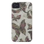 Negro Paisley púrpura gris de las mariposas del Gr iPhone 4 Case-Mate Coberturas