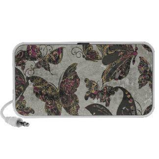 Negro Paisley púrpura gris de las mariposas del Gr Portátil Altavoces