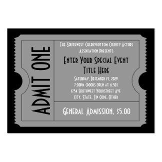 Negro+Paquete blanco del boleto del acontecimiento