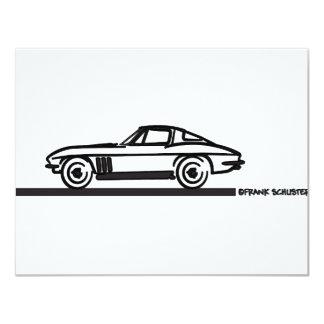 Negro partido 1965 de la pastinaca del Corvette Invitación 10,8 X 13,9 Cm
