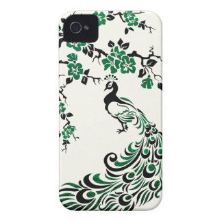 Negro, pavo real esmeralda de la hoja y flores de carcasa para iPhone 4