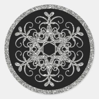 Negro, pegatina del boda del copo de nieve de la
