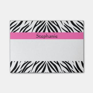 Negro personalizada, blanco, estampado de zebra de notas post-it®