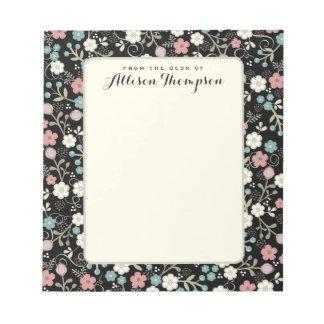Negro personalizado banal floral de la libreta el libreta para notas