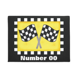 Negro personalizado bandera a cuadros del número felpudo