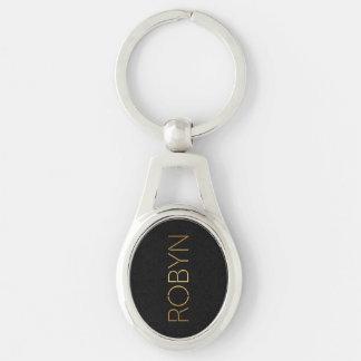 Negro personalizado del oro de Robyn de la fuente Llavero Plateado Ovalado