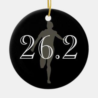 Negro personalizado del recuerdo del corredor de adorno navideño redondo de cerámica