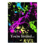Negro personalizado/salpicadura de neón invitación 12,7 x 17,8 cm