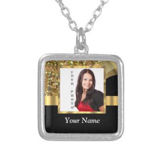 Negro personalizado y oro collar plateado