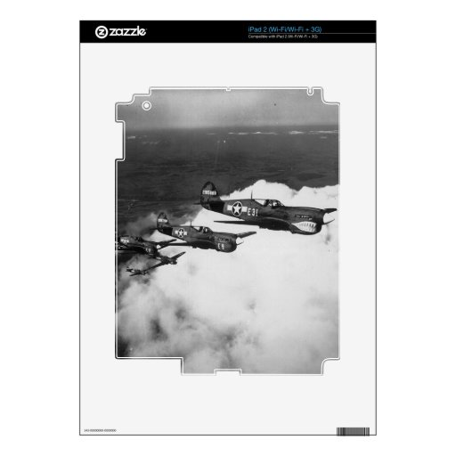Negro Pilots in Shark-Nosed P-40 Fighter Aircraft Decal For The iPad 2