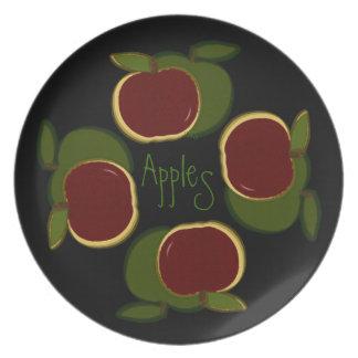 Negro pintado de las manzanas (con los gráficos) platos