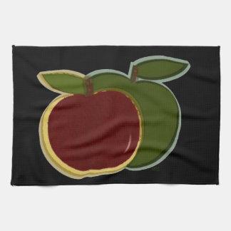 Negro pintado de las manzanas toallas de cocina