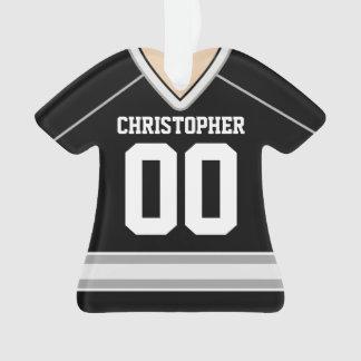 Negro/plata/jersey de encargo blanco del hockey