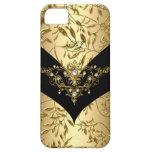 negro poner crema del damasco del oro de la casama iPhone 5 carcasa