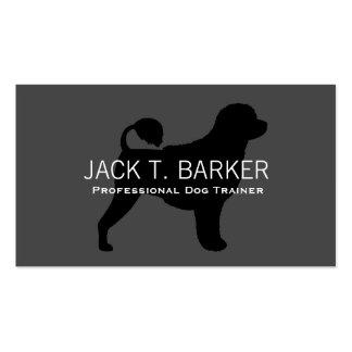 Negro portugués de la silueta del perro de agua en tarjetas de visita
