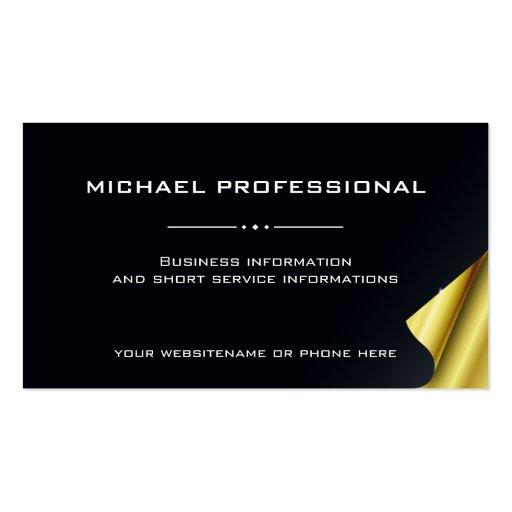 Negro profesional moderno del oro de la tarjeta de tarjeta de negocio