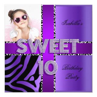 """Negro púrpura de la 10ma del cumpleaños del dulce invitación 5.25"""" x 5.25"""""""