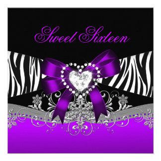 Negro púrpura de la cebra de la fiesta de cumpleañ comunicados personales