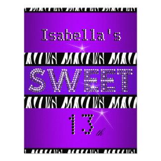 Negro púrpura de la décimotercero cebra del cumple comunicados personalizados