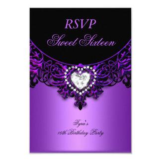 """Negro púrpura de la fiesta de cumpleaños 16 del invitación 3.5"""" x 5"""""""