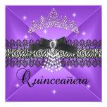 """Negro púrpura de la fiesta de cumpleaños de invitación 5.25"""" x 5.25"""""""
