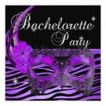 Negro púrpura de la máscara del fiesta de invitación 13,3 cm x 13,3cm