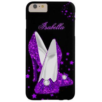 Negro púrpura de los tacones altos del brillo funda para iPhone 6 plus barely there