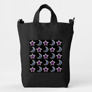 Negro púrpura de plata del modelo de las estrellas bolsa de lona duck